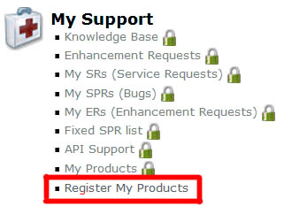 Register My Products link in the SOLIDWORKS Customer Portal