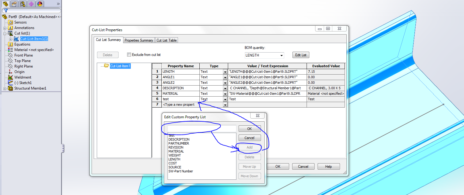 how do you reference cut list custom properties in a solidworks capture