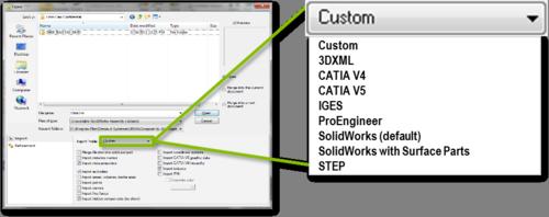 3DVia import options