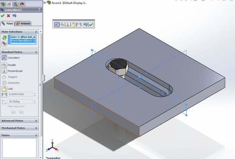 solidworks slot mate