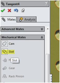 Slot mechanical mate solidworks