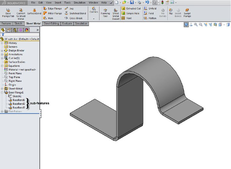 Editing Solidworks Sheet Metal Bend Sub Features