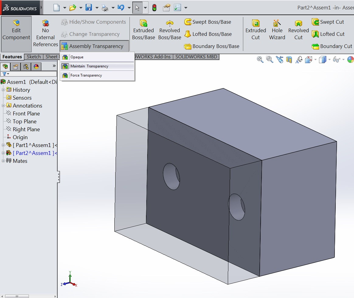 SOLIDWORKS: Editing Parts in Context and Transparency
