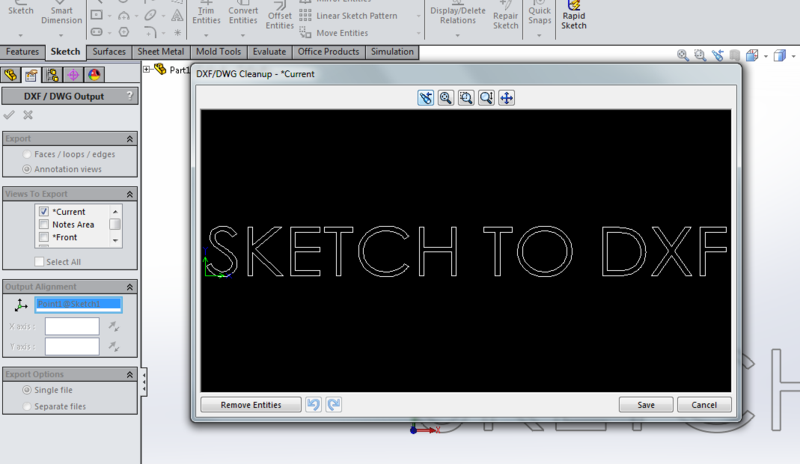 SKETCH TO DXF from part