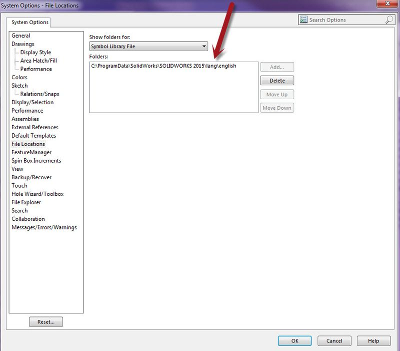 System Option Symbol folder
